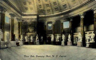 West Side Statuary Hall - Charleston, West Virginia WV Postcard