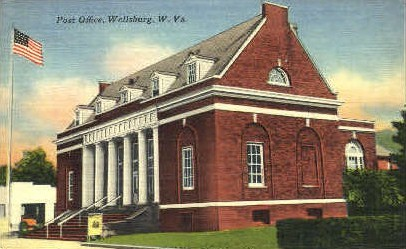 Post Office  - Wellsburg, West Virginia WV Postcard