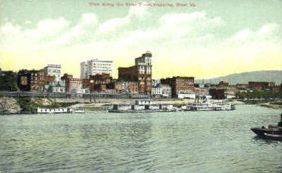 The River Front  - Wheeling, West Virginia WV Postcard
