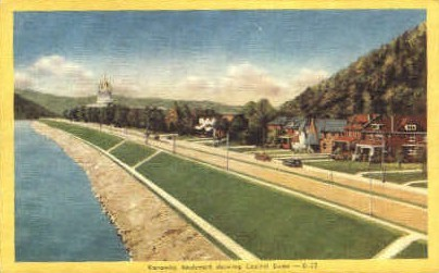Kanawka Boulevard - Charleston, West Virginia WV Postcard