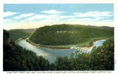 New River Canyon - Hawks Nest, West Virginia WV Postcard