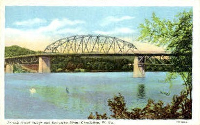 Patrick Street & Kanawha River  - Charleston, West Virginia WV Postcard