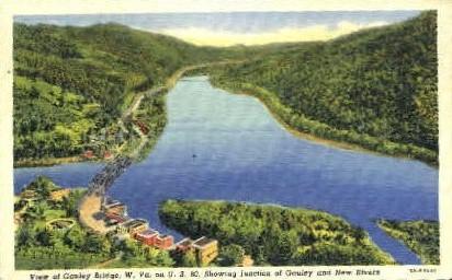 Junction of Gauley & New Rivers - Gauley Bridge, West Virginia WV Postcard