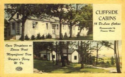 Cliffside Cabins  - Harpers Ferry, West Virginia WV Postcard