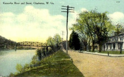Kanawha River & Street  - Charleston, West Virginia WV Postcard
