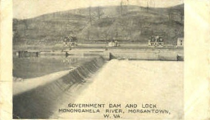 Lock Monongahela River  - Morgantown, West Virginia WV Postcard