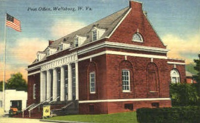 Post Office  - Wellsburg, West Virginia WV Postcard