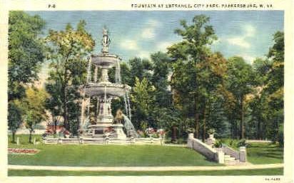 Fountain at City Park Entrance  - Parkersburg, West Virginia WV Postcard