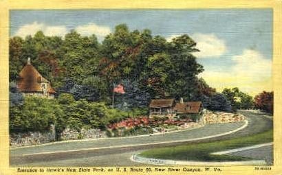 Hawks Nest Park - River Canyon, West Virginia WV Postcard