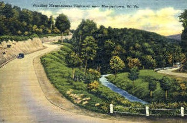 Winding Mountainious Highway  - Morgantown, West Virginia WV Postcard