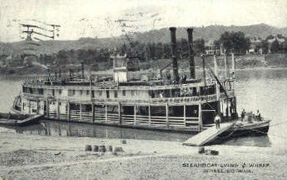 Steamboat Lying at Wharf - Wheeling, West Virginia WV Postcard