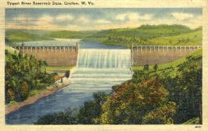 Tygart River Reservoir Dam - Grafton, West Virginia WV Postcard