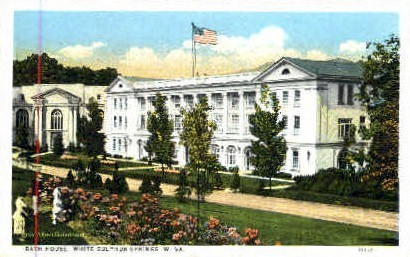 Bath House - White Sulphur Springs, West Virginia WV Postcard