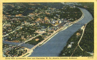 Kanawha River - Charleston, West Virginia WV Postcard