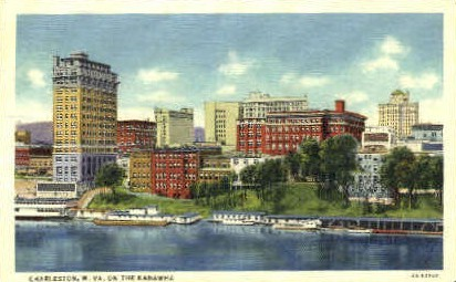 On the Kanawha - Charleston, West Virginia WV Postcard