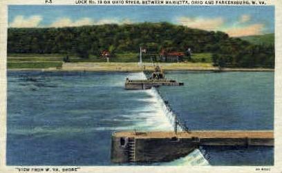 Ohio Rivver - Parkersburg, West Virginia WV Postcard