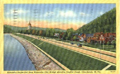 Kanawha Boulevard - Charleston, West Virginia WV Postcard