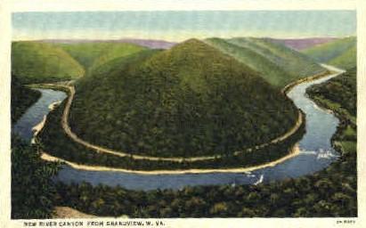 New River Canyon - Grandview, West Virginia WV Postcard