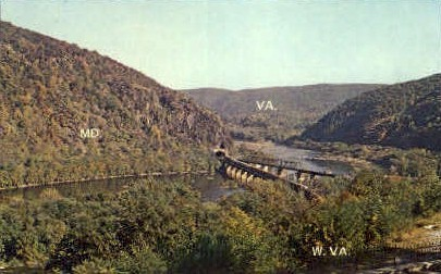 Three States - Harpers Ferry, West Virginia WV Postcard