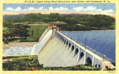 Tygart River Reservoir Dam - Clarksburg, West Virginia WV Postcard