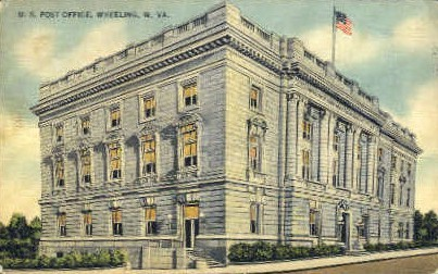 U. S. Post Office - Wheeling, West Virginia WV Postcard