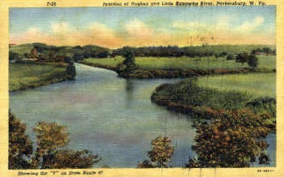 Hughes and Little Kanawha River - Parkersburg, West Virginia WV Postcard
