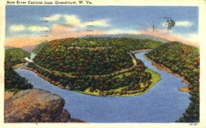 New River Canyon - Grandview, West Virginia WV Postcard
