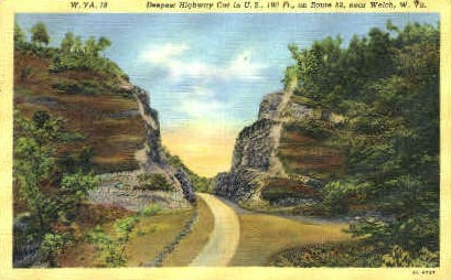 Deepest Highway Cut - Welch, West Virginia WV Postcard