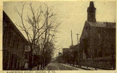Washington Street - Grafton, West Virginia WV Postcard