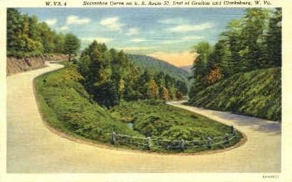 Horse Shoe Bend  - Clarksburg, West Virginia WV Postcard