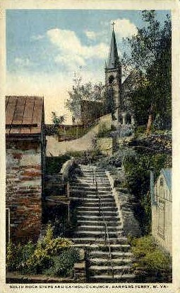 Natural Stone Steps - Harpers Ferry, West Virginia WV Postcard