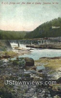 C & O Bridge, New River - Gauley Junction, West Virginia WV Postcard