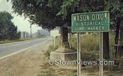 Mason & Dixon Line - New Martinsville, West Virginia WV Postcard