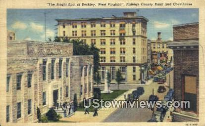 Raleigh County Bank & Courthouse - Beckley, West Virginia WV Postcard