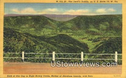 Nancy Hanks, Mother of Abraham Lincoln - Devils Saddle, West Virginia WV Postcard