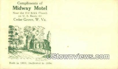 Midway Motel - Cedar Grove, West Virginia WV Postcard