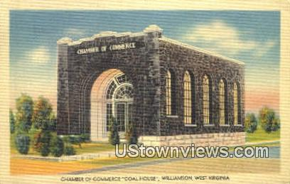 Chamber of Commerce, Coal House - Williamson, West Virginia WV Postcard