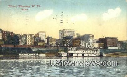Wharf - Wheeling, West Virginia WV Postcard