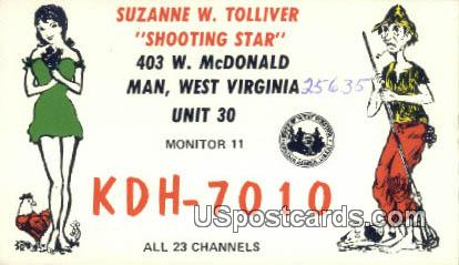 Suzanne W Tolliver - Man, West Virginia WV Postcard