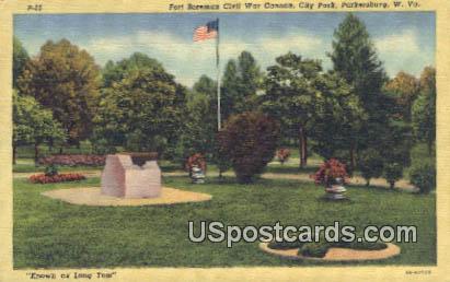 Fort Boreman Civil War Cannon, City Park - Parkersburg, West Virginia WV Postcard
