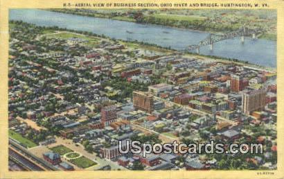 Business Section, Ohio River - Huntington, West Virginia WV Postcard