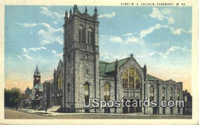 First ME Church - Fairmont, West Virginia WV Postcard