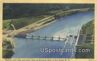 Winfield Lock, Dam & Power Plant - Red House, West Virginia WV Postcard