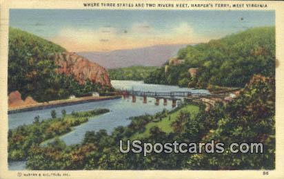 Two Rivers Meet - Harpers Ferry, West Virginia WV Postcard