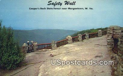 Safety Wall, Cooper's Rock State Forest - Morgantown, West Virginia WV Postcard