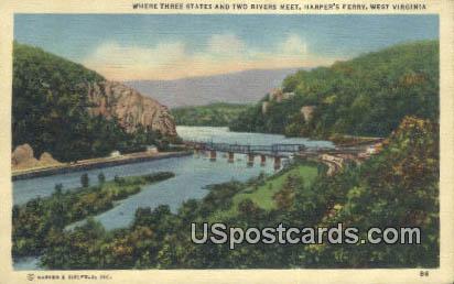 Three States Meet - Harpers Ferry, West Virginia WV Postcard