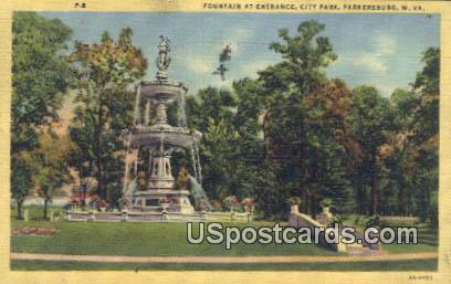 Fountains, City Park - Parkersburg, West Virginia WV Postcard