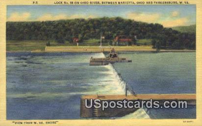 Lock No 18, Ohio River - Parkersburg, West Virginia WV Postcard