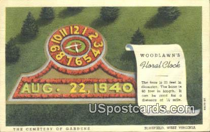 Woodlawn's Floral Clock - Bluefield, West Virginia WV Postcard