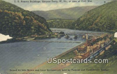 US Armory Buildings - Harpers Ferry, West Virginia WV Postcard